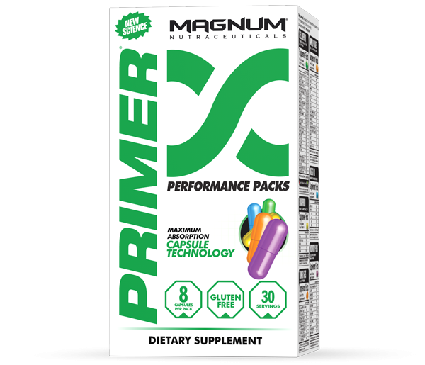 Magnum Primer - Magnum Primer is a vitamin pack that utilizes key ingredients in the right ratios and combinations to allow maximum energy production for training and to combat the stresses of life. • Better post workout recovery• Delay onset of muscle fatigue• Increase rate of fat metabolism• Improve strength and exercise performance• Boost immune system and function