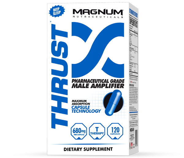 Magnum Thrust - Magnum Thrust is the only testosterone booster to include 4 testosterone mimickers that increase protein synthesis. It is 100% natural and will not shut down your body's ability to produce testosterone. Thrust is 100% Pharmaceutical Grade for better, faster results. • Harder, stronger muscles• Deeper, more restful sleeps• Leaner physique • Increased recovery • More power