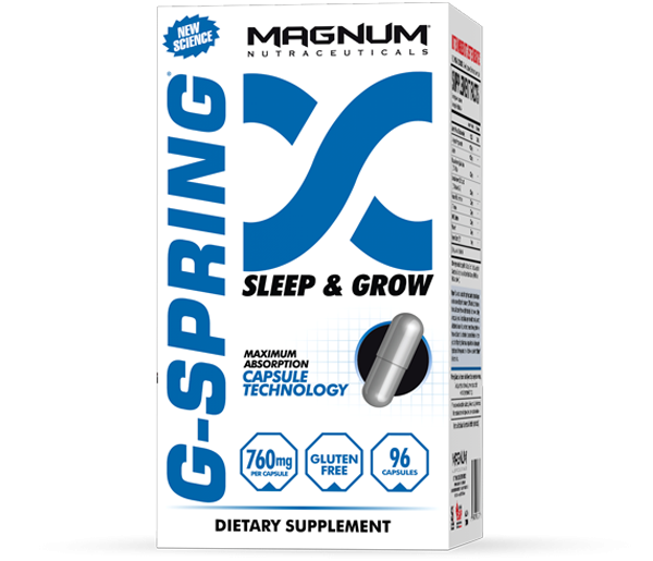 Magnum G-Spring - Magnum G-Spring is a multi-ingredient Pharmaceutical Grade formulation that increases your resting growth hormone levels while you sleep. This increase allows you to wake up feeling rested, energized, and focused. Now you can train harder, recover better, burn fat more efficiently, and at the end of the training day, fall into a deep sleep for improved recovery. • Deep sleep• Burn fat• Build lean muscle• Enhance recovery