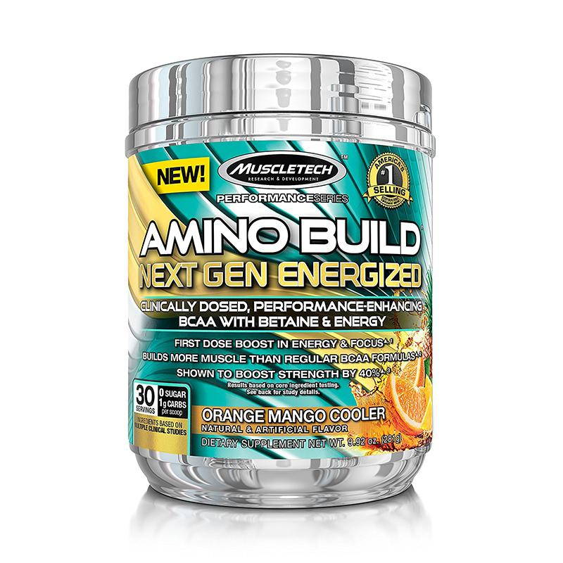 MuscleTech Amino Build Energized - Available in: Fruit Punch• Added stimulants for EXTRA energy!• Builds more muscle than regular BCAA formulas• Features 8g of 2:1:1 instantized aminos• Shown to boost strengthBCAAs are comprised of three powerful amino acids – leucine, isoleucine and valine – and are perfect for any hard-training athlete because they serve as primary building blocks for muscle and help combat muscle loss and protein breakdown, especially during intense training.