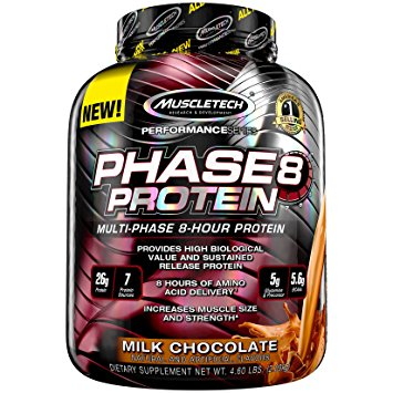 MuscleTech Phase 8 - Available in: Chocolate, Vanilla• Provides 6 sustained-release high biological value proteins• 8 hours of amino acid delivery• Helps prevent muscle breakdownPHASE8 is a premium blended protein formula that feeds your muscles for 8 hours. Each scoop contains an impressive 26-gram blend of milk-derived proteins that supplies a sustained-release of amino acids. PHASE8 has a superior, clean macronutrient profile with only half the carbs and fat of the leading competitor.The main protein component in PHASE8 has the unique ability to release amino acids in your bloodstream for 8 hours after taking it. Because of these sustained-release properties, it's a highly anabolic and anti-catabolic protein that helps create a muscle-building environment for longer periods of time.