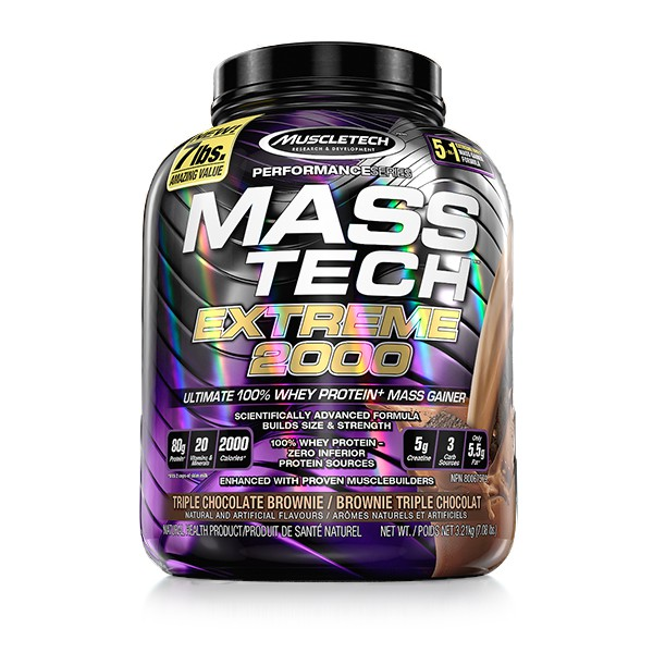 MuscleTech Mass Tech Extreme 2000 - Available in: Chocolate• Scientifically advanced formula builds more size & strength• 100% whey protein – zero inferior protein sources• Ultimate mass gainer formula with proven muscle-building ingredientsMASS-TECH EXTREME 2000 features 80g of protein, over 400g of carbs and 2,000 mass-producing calories, plus 8g of L-leucine, 5g of creatine, and 20 vitamins and minerals. Reap the rewards of all your hard work in the gym – MASS-TECH EXTREME 2000 has everything you need to bulk up, pack on muscle, smash through strength plateaus and make the kind of mass gains you've never experienced before!
