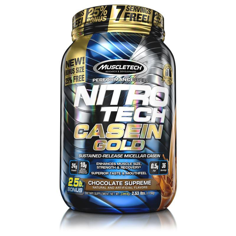 MuscleTech Nitro Tech Casein Gold - Available in: ChocolateEnhance your recovery with sustained nutrient release. Casein and milk protein are some of the slowest-digesting proteins available. NITRO-TECH® CASEIN GOLD delivers 24g of high-quality protein taken from multiple premium casein sources for a prolonged amino acid release to feed your muscles for up to 8 hours.What's more, each enhanced serving of NITRO-TECH CASEIN GOLD contains 10g of naturally occurring BCAAs, glutamine and precursor, and only 1g of sugar. Combined with an amazing flavour profile, NITRO-TECH CASEIN GOLD is as good for your taste buds as it is for your muscles!
