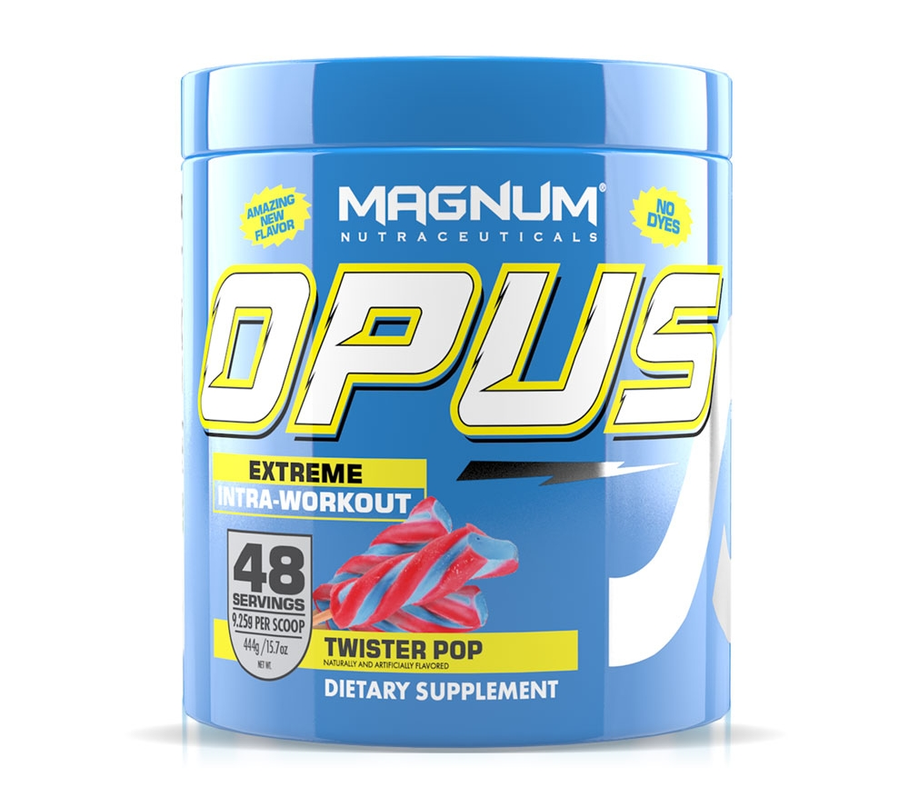 Magnum Opus - Available in: Red Berry, Twister Pop, Orange Dreamsicle, Blue YasberryMagnum Opus is 100% stimulant free energy source. It provides energy at the cellular level as opposed to over-dose stimulant products. Opus is the first workout fuel that you feel in minutes without any stimulants. It enables you to train harder than ever before with no fear of losing muscle or energy production breakdown. • Muscular Performance• Cellular Energy• Blood Flow• pH balance• Hydration