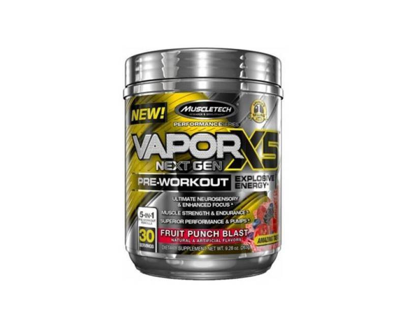 MuscleTech Vapor X5 - Available in: Fruit Punch, Orange Mango• Extreme energy and sensory • Intense pumps• Enhances strength VaporX5 Next Gen is the most complete pre-workout product available. It delivers unparalleled energy, extreme muscle pumps and performance, a surreal sensory experience plus scientifically validated musclebuilding power! For the ultimate pre-workout experience, VaporX5 Next Gen features a unique blend of premium sensory ingredients and a neurotransmitter precursor. The powerful combination of choline, theanine and Alpinia officinarum provides a unique sensory experience, while a research-inspired dose of a precise caffeine molecule delivers unbelievable energy and focus.