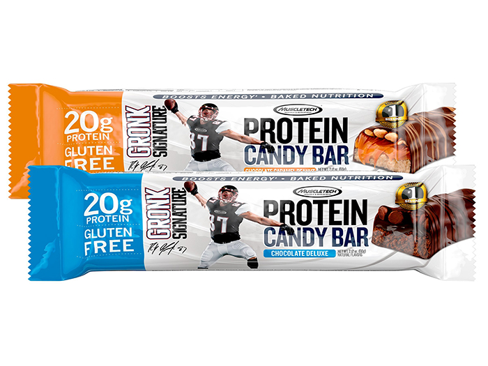 MuscleTech Gronk Protein Bar - Available in: Chocolate Deluxe, Chocolate Caramel Peanut• Candy bar taste• 20g protein• Boosts energyThis soft and chewy candy bar that packs 20g of protein and an energy boost is gluten-free, triple-layered and made with science-backed premium whey protein to help support muscle growth and recovery from workouts!