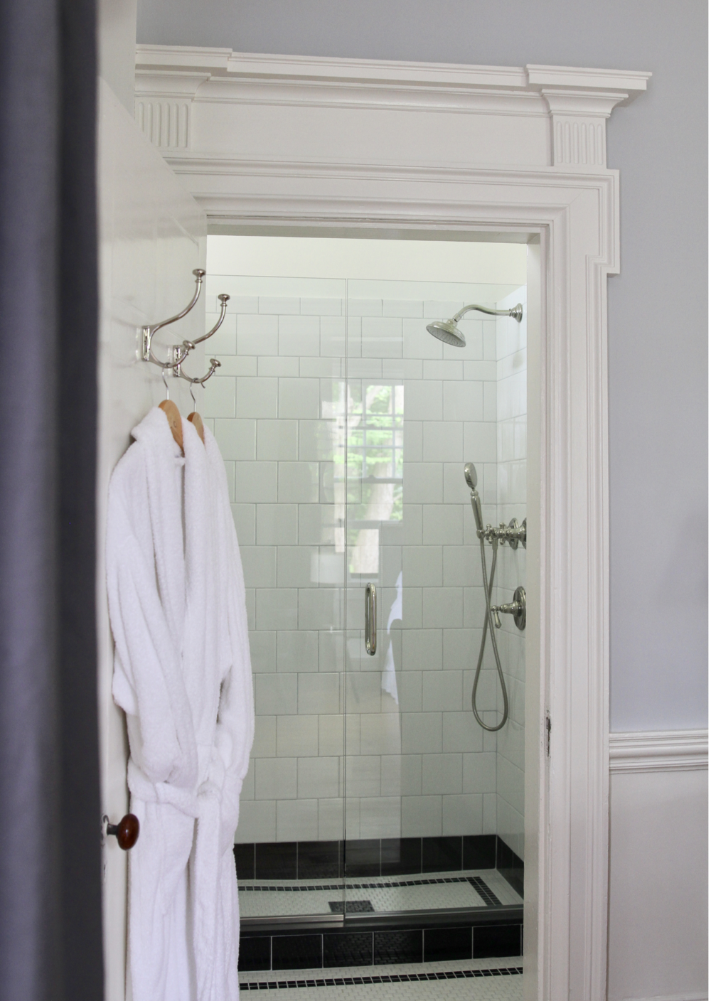 Room One   Room one features a glorious walk in shower room, with radiant heated mosaic tiled floors. Polished nickel fixtures. Toiletries are   Aesop  .