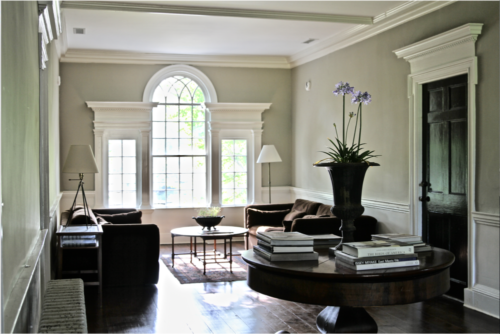 Palladian Window, seating area.  A perfect spot for conversation or reading or doing absolutely nothing. Outside this magnificent window are two mature Katsura trees, diffusing the light with their beautiful heart shaped leaves.