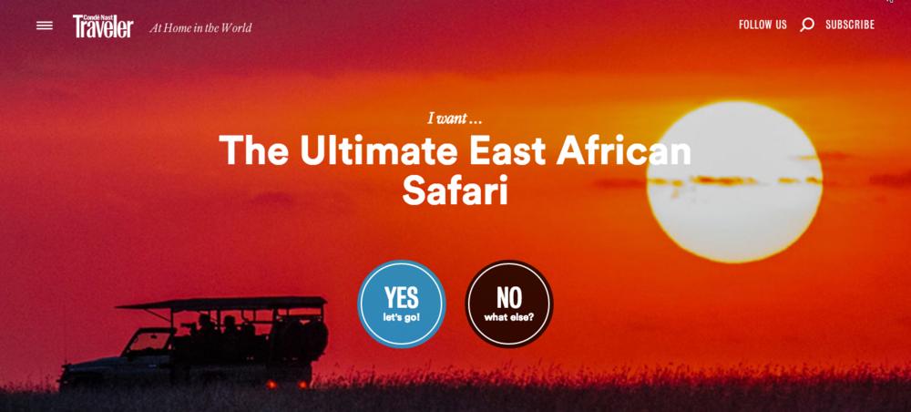 "Condé Nast Traveler -  ""The Great East African Safari Experience"""