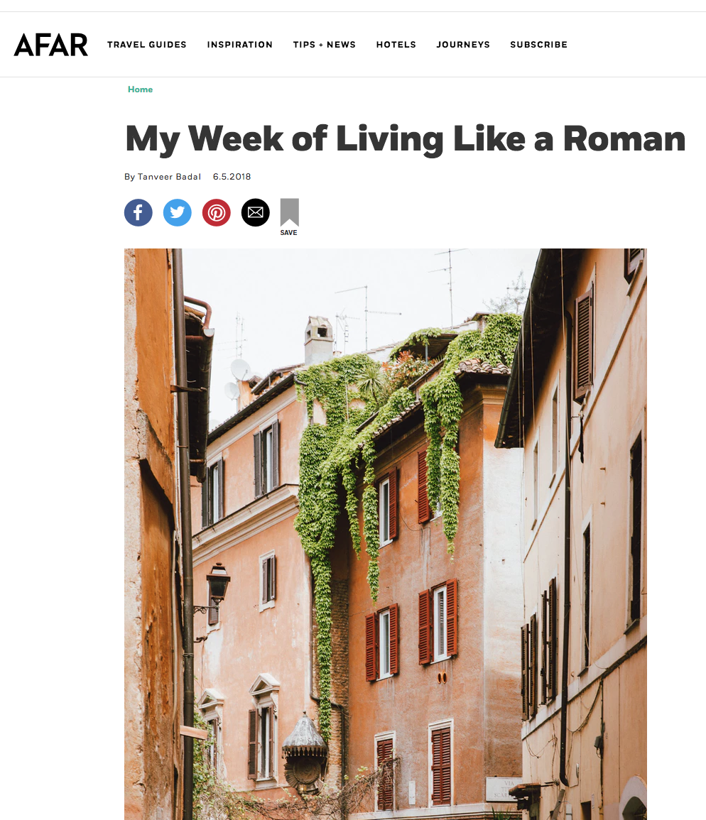 "Afar Magazine -  ""My Week of Living Like a Roman"""