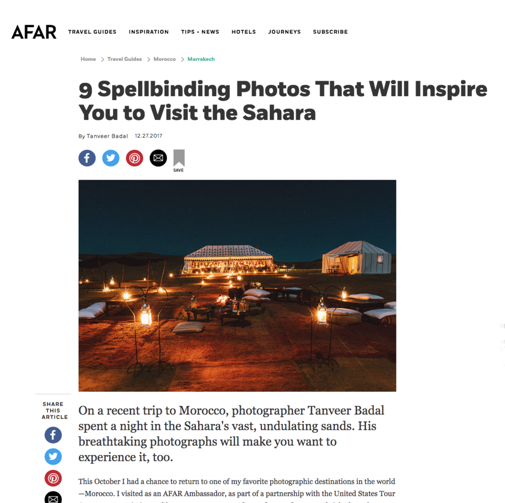 """Afar Magazine -  """"9 Spellbinding Photos That Will Inspire You to Visit the Sahara"""""""