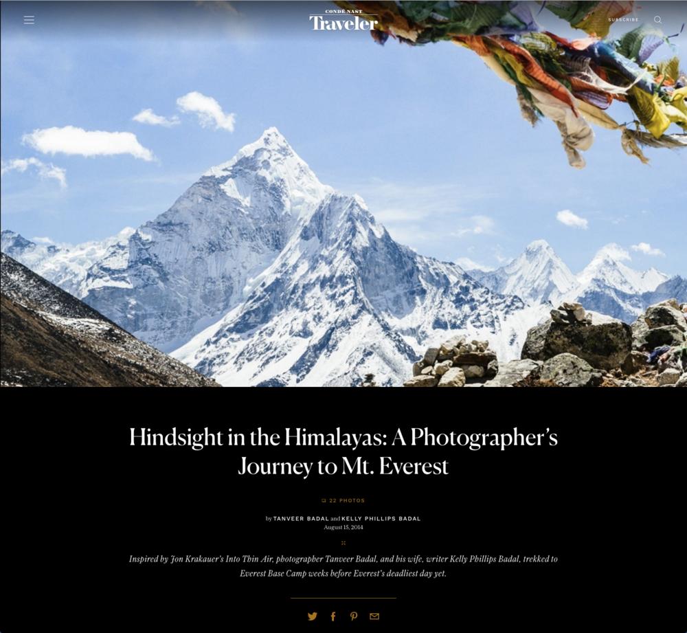 "Condé Nast Traveler -  ""A Photographer's Journey to Mt. Everest"""