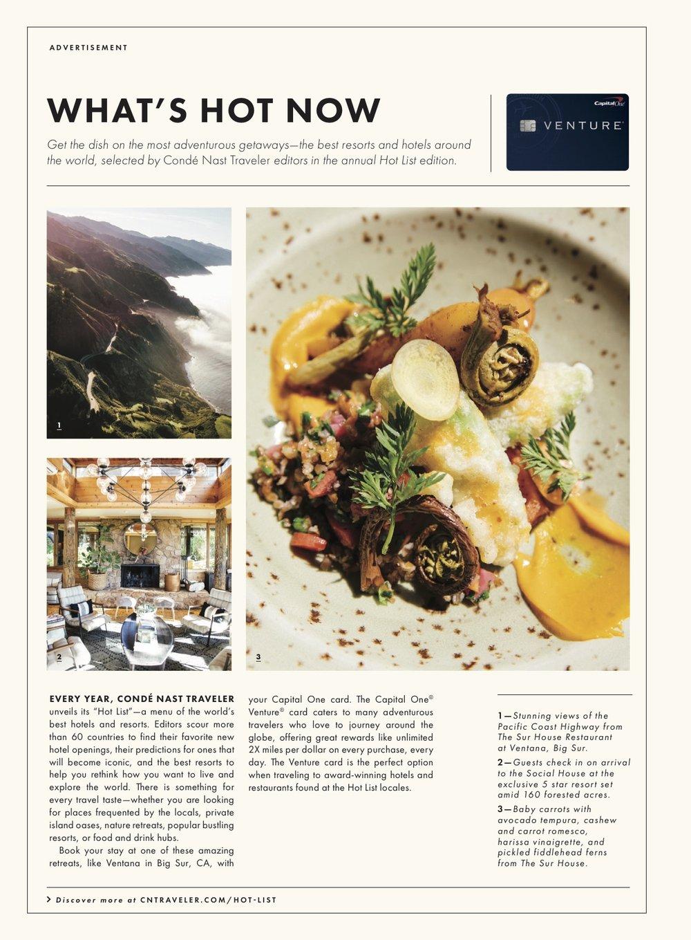 Bon Appétit Magazine (Aug. 2018)- Ventana Big Sur + Capital One Advertorial