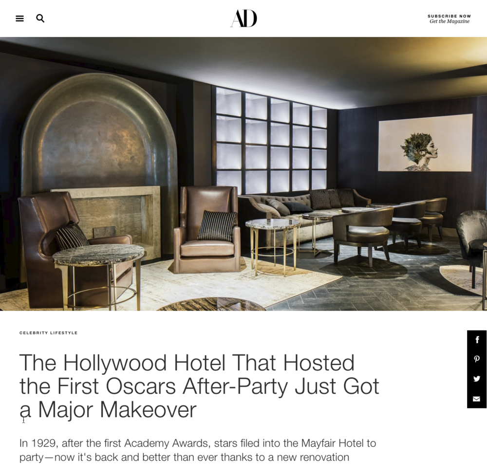 Architectural Digest - Mayfair Hotel, Los Angeles