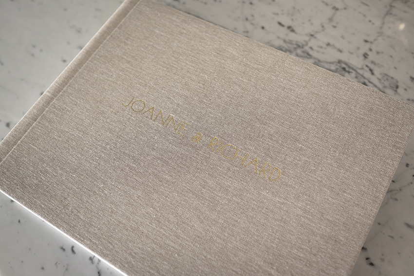 13x10 with Oatmeal linen cover + gold imprinting