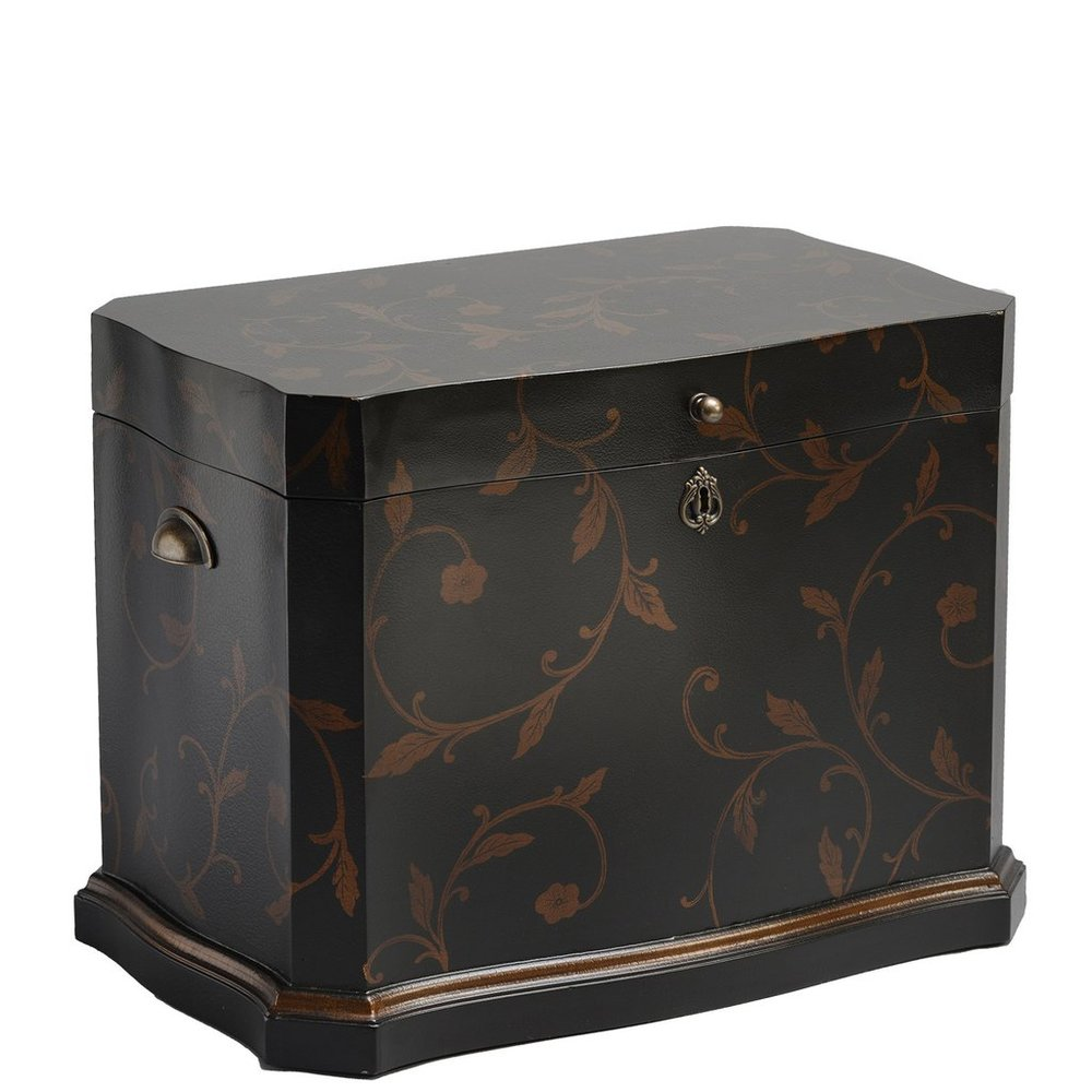 "The Athenian Life Chest™ - Majestic curves and a thick gold painted border embrace this elegantly shaped Life Chest.Enveloped in a stylish hand-painted gold foil leaf design and leathered exterior finish, the interior is lined in lush chocolate-colored velvet.The Athenian includes three vertical dividers and a removable sectioned tray to house precious Life Chest mementos.Dimensions: 25"" W x 17"" D x 17.5"" HWeight: 38 lbs."