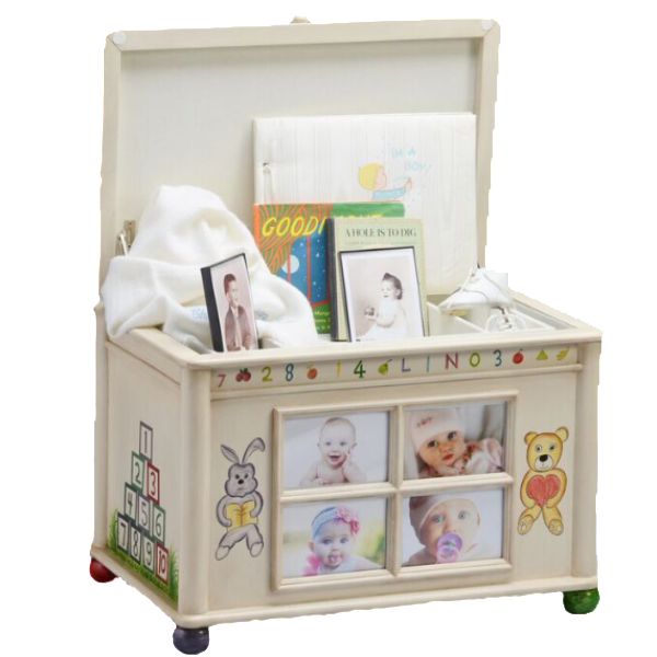 Baby's First Life Chest™ - From first photos, hospital bracelet, lock of hair, tooth fairy pillow and homecoming outfit, Baby's First Life Chest holds everything dear for years to come. Playful hand-painted characters, two vertical dividers and eight exterior photo frames adorn this delightful addition to every new baby's nursery.Dimensions: 23″ W x 14.5″ D x 17.5″ HWeight : 38 lbs.