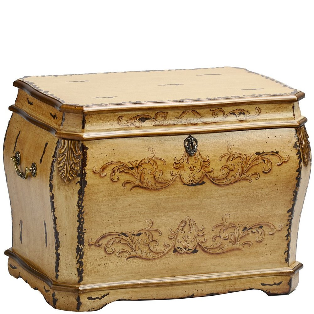 "Florence Life Chest™ - Evoking memories of olde world Europe, the Florence Life Chest features antique motifs and hand-painted detailing. Finished in antique ochre with rubbed sienna, the Florence has distressed corners and gold embellishments near the lid.Plush chocolate-toned velvet lining covers the interior which consists of three dividers and a removable tray designed to hold beloved keepsakes lies just within the chest.Dimensions: 24"" W x 18"" D x 19"" HWeight: 36 lbs."