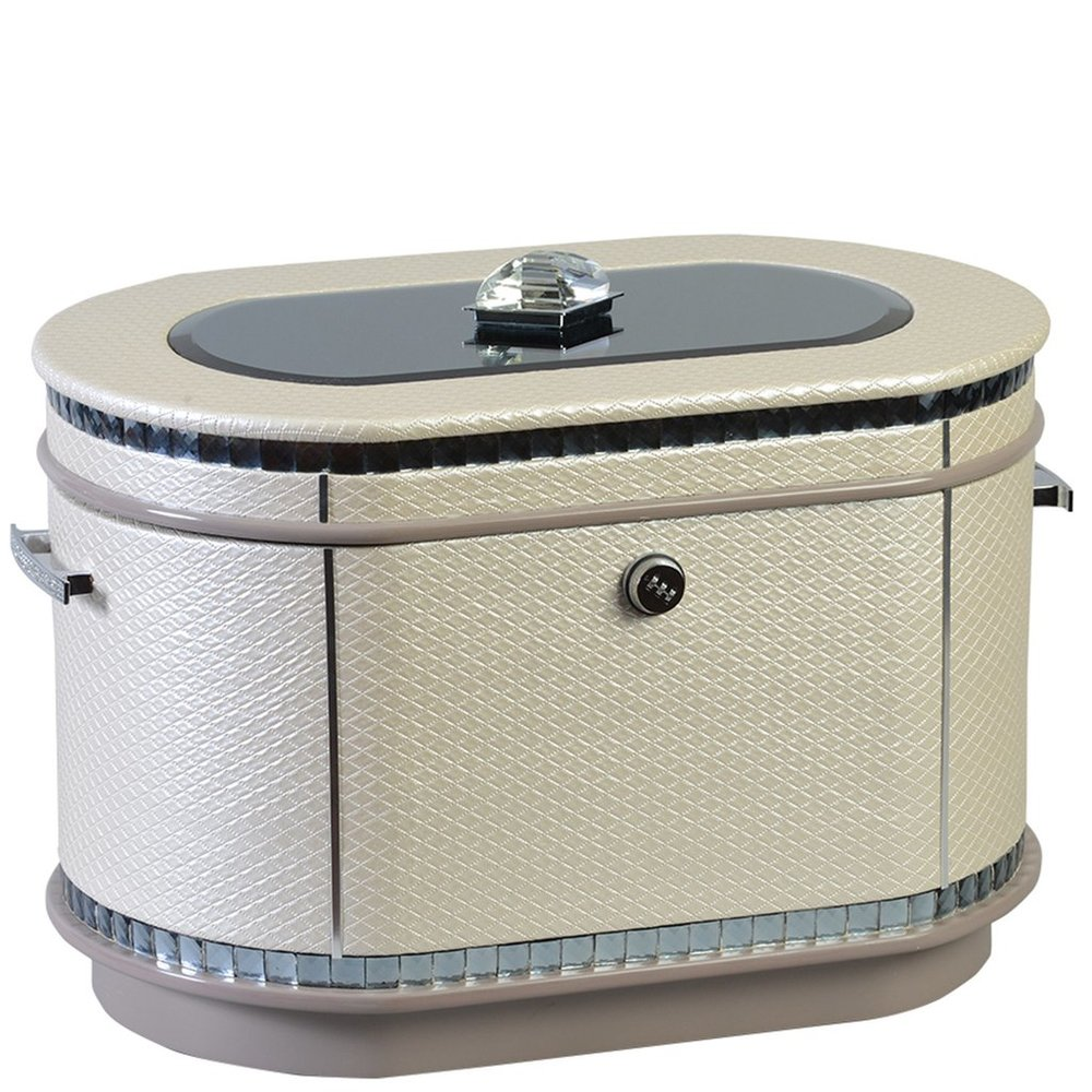"""The Glamour Life Chest™ - Chanel-inspired pearlized cream color quilted faux leather finish with oval mirror inlay, large jewel top, and crystal hardware. Interior: velvet-lined trays, one removable vertical as well as one horizontal divider, a mirrored floor, and a mounted photo frame.At times this style is also referred to as Surthrivoras a result of it being designed by a cancer survivor and close friend of CEO Donna YostDimensions: 24.5"""" W x 16"""" D x 16.5"""" HWeight : 41 lbs."""