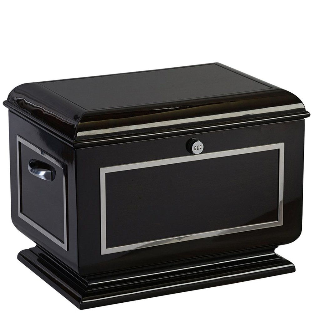 "The Havana Life Chest™ - With its high gloss finish, the Havana is a lesson in sleek sophistication. The mahogany chest is complimented by chrome accents.The spacious interior includes soft black velvet, sectioned tray, one vertical divider, one horizontal divider, a veined marble floor and mounted brushed silver photo frame.Dimensions: 26"" W x 16.5"" D x 18"" HWeight : 62 lbs."