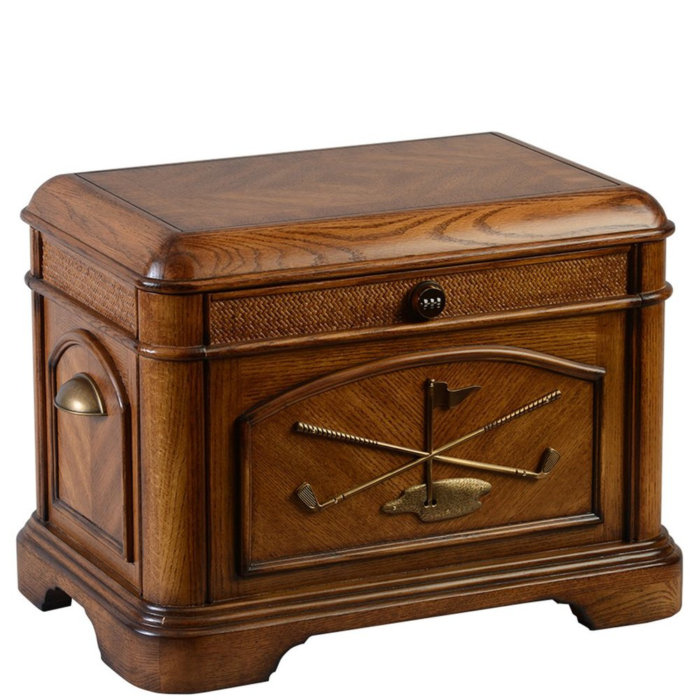 "The Par 3 Life Chest™ - Warm oak finish with antique brass-colored decorative front. Interior: velvet-lined trays, removable dividers, marble floor and mounted photo frame.Dimensions: 24"" W x 16.5"" D x 17.5"" HWeight : 57 lbs."