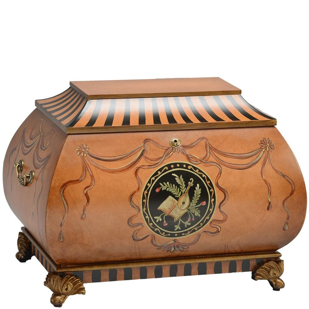 "The Salzburg Life Chest™ - With its fanciful shape, bold striped accents and musical hand painted motifs, the Salzburg feels charming and inviting. Upon opening the lid, you might expect to hear a song from a favorite moment in time . . . instead you will find remembrances and souvenirs of your life.A small velvet covered tray lifts out to reveal plush velvet lining in warm cocoa colors. The Salzburg is finished in deep butterscotch tones with black accents and sepia detailing. Truly a Life Chest for every age!Dimensions: 24"" W x 16.5"" D x 17.5"" HWeight: 34 lbs."