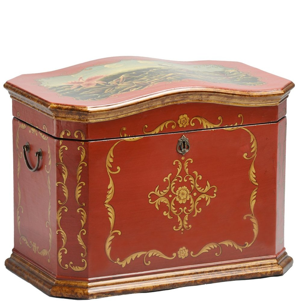 "The Sicilian Life Chest™ - Deep russet red both inside and out set the Sicilian apart. Antique bronze hand painting over its leathered-feel exterior showcases gold leaf detailing and exquisite botanical scenes.The interior has a wide sectioned tray that rests atop of three vertical dividers which create compartments in the chest. The Sicilian will preserve achievements large and small, moments beloved and reminders of all things dear.Dimensions: 24"" W x 16"" D x 16.5"" HWeight: 35 lbs."