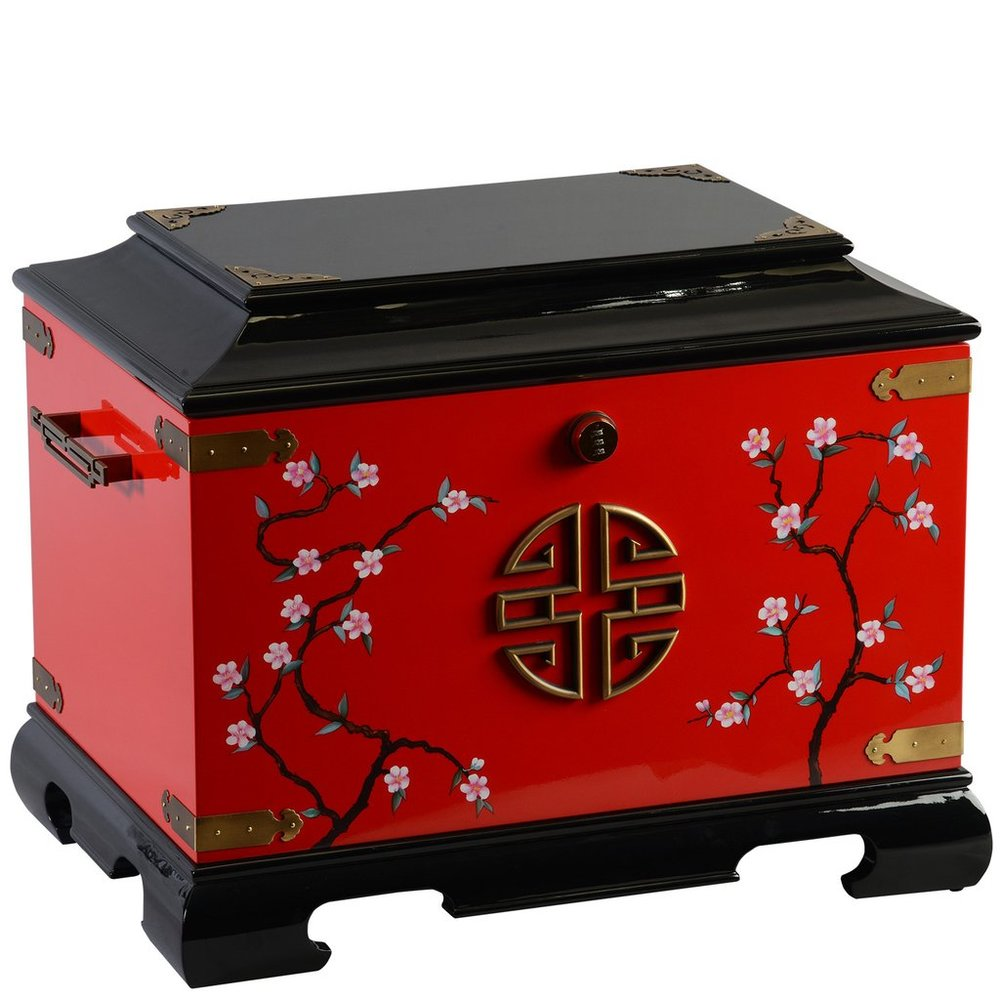 "The Zen Blossom Life Chest™ - With its gold detailing, the Zen Blossom reflects emanates serenity. A red and black lacquer finish is complimented by hand painted accents.The spacious interior includes soft black velvet, sectioned tray, two vertical dividers, one horizontal divider, a veined marble floor and mounted gold photo frame.Dimensions: 24"" W x 16.5"" D x 20"" HWeight : 50 lbs."