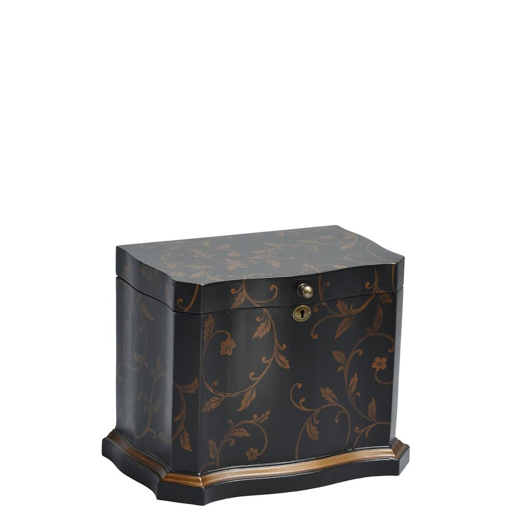 "Athenian Memory Life Chest™ - Majestic curves and a thick gold painted border embrace this elegantly shaped Life Chest. Enveloped in a stylish hand-painted gold foil leaf design and leathered exterior finish, the interior is lined in lush chocolate-colored velvet.Dimensions: 13""W x 8"" D x 6.25"" HWeight : 15 lbs."