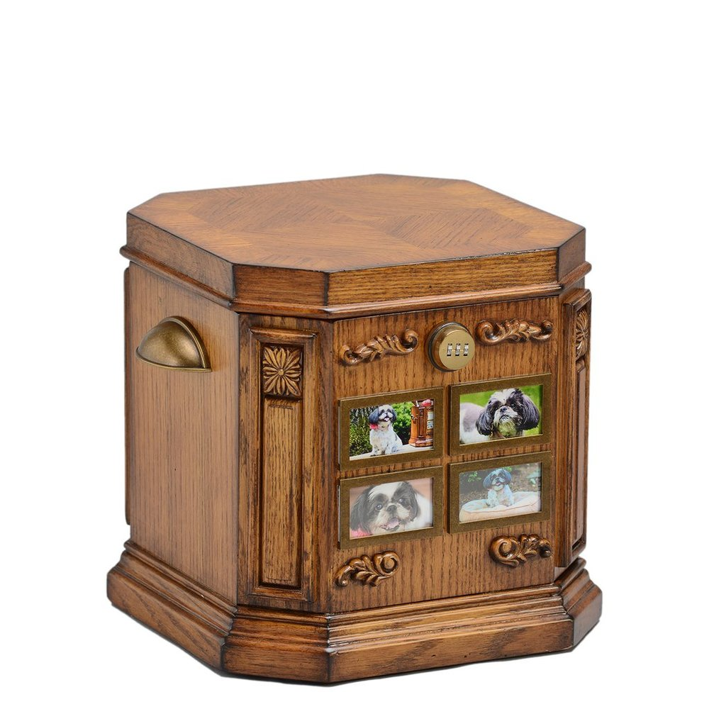 Cherished Pet Life Chest™ - With its four mounted photo frames, the Cherished the perfect stage for your memories. A warm honey finish is complimented by a striking carved motif.The spacious interior includes soft espresso-toned velvet, sectioned tray, removable dividers and veined marble floor.Dimensions: 13″ W x 13″ D x 12″ H Exterior Photo Frames: 1.5 H