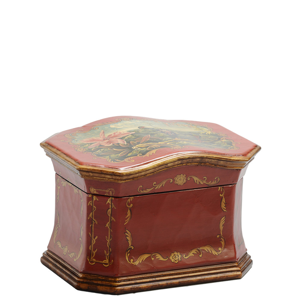 "Sicilian Memory Life Chest™ - Deep russet red both inside and out set the Sicilian Memory Life Chest apart. Antique bronze hand painting over its leathered-feel exterior showcases gold leaf detailing and exquisite botanical scenes.The Sicilian will preserve achievements large and small, moments beloved and reminders of all things dear.Dimensions: 12.75"" W x 9.5"" D x 8.75"" HWeight : 5 lbs."