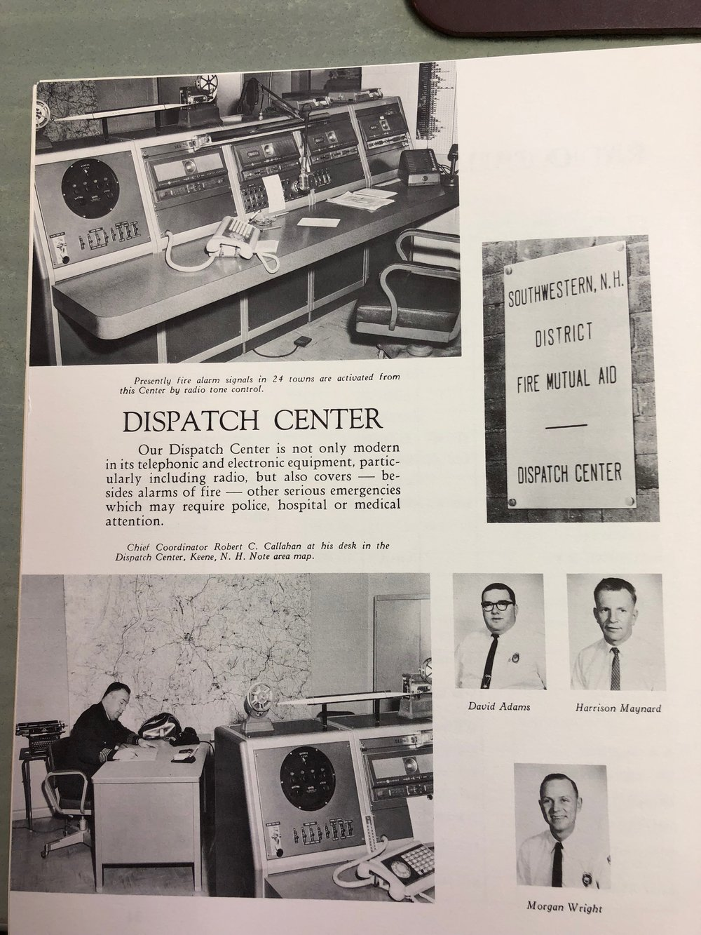 The original Dispatch Center, Chief Callahan at his desk, and 3 of the first dispatchers.
