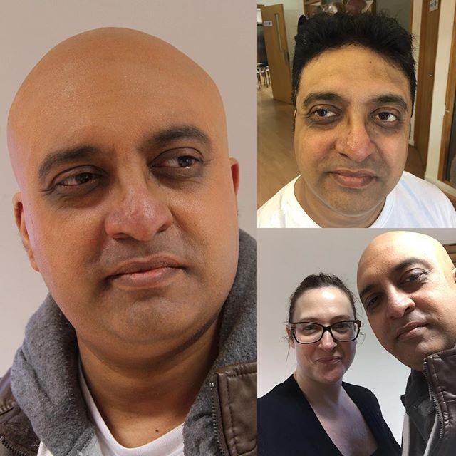 Me and my actor Kishore mastering the skills of #baldcap with the expert teaching of @jana_carboni ❤️🙏🏻@creativemediaskills 🙏🏻👍🏻☺️ it was such a pleasure @kish41 thank you!! #sfx #sfxmakeup #sfxmakeupartist #media #filmmakeup #makeup #makeupartist #baldisbeautiful #baldie #baldandbeautiful #nohairdontcare #haircut #quickchange #newlook #hairloss #hairlosshelp