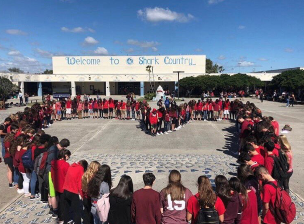 Students at Spanish River Community High School, our alma mater, showing support for the Douglas victims.
