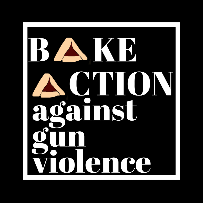 Bake Action Against Gun Violence logo with hamentaschen as the capital As