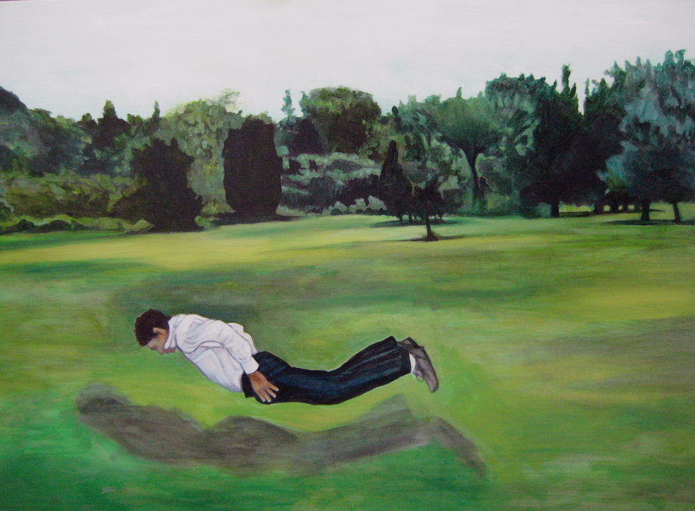 Falling Man  oil on canvas by  Miriam Feldman