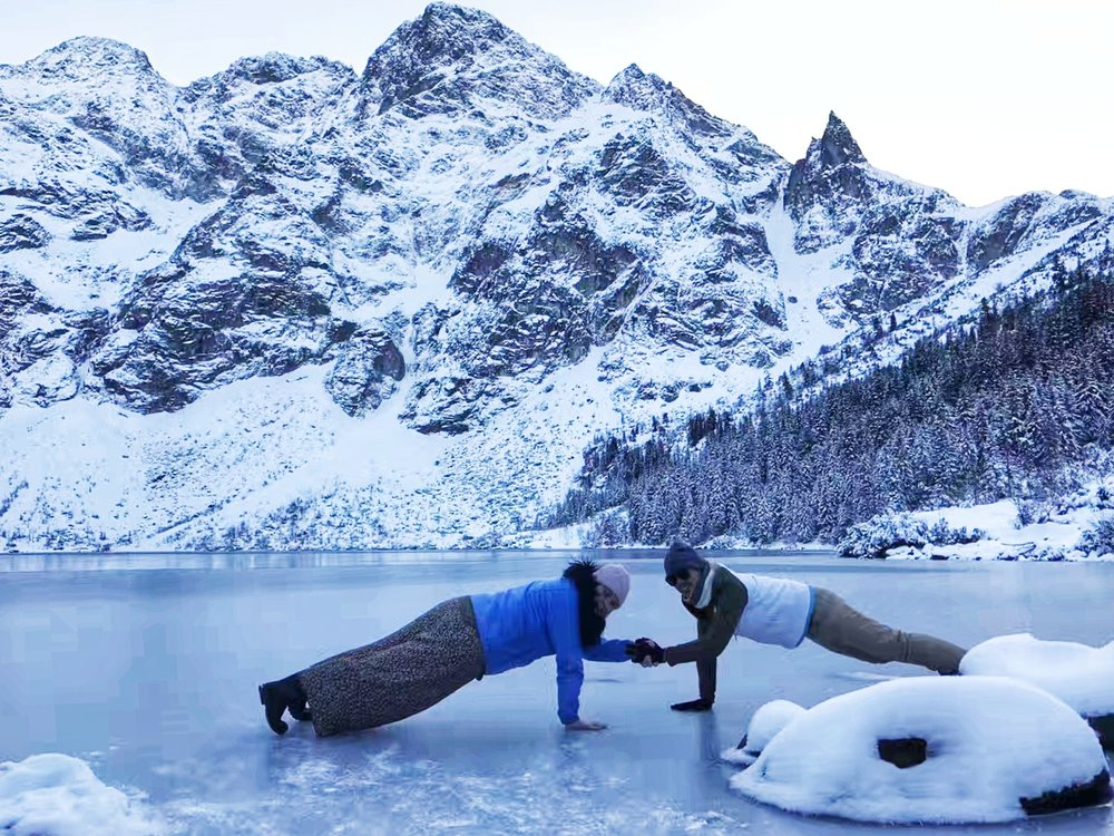 Alicja (left) and Jeff (right) planking on ice in Zakopane, Poland
