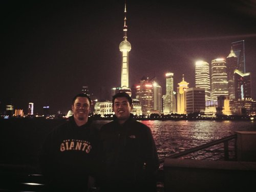 Cory (left) with Roger (right) in Shanghai in 2013