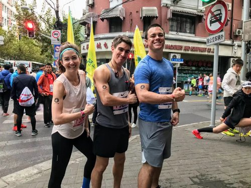 My pre-marathon FitFam pose with Olivia Plotnick (left) and Cory (right)