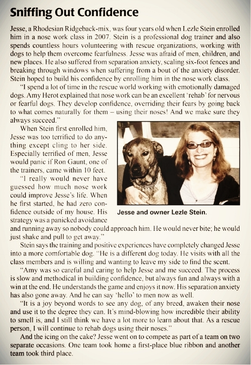 Lezle was featured in Whole Dog Journal, VOL. 12, NO. 8. 2009