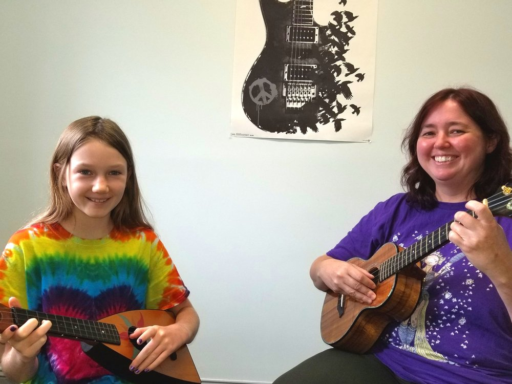 Ukulele Lessons - Our ukulele instructors offer some of the only private ukulele lessons in town. They are extremely passionate about their playing, and love to pass down that knowledge to their students. Ukuleles are great for younger kiddos, and anyone wanting a simpler instrument that they can learn quickly. Our teachers will teach either strictly playing, or more traditional play and sing sessions, as the student is comfortable. Because ukuleles are fairly inexpensive, uke can be a great starter instruments! Our instructors teach anything you want to learn, whether it's traditional campfire songs, or heavy metal on the uke, our instructors have you covered!