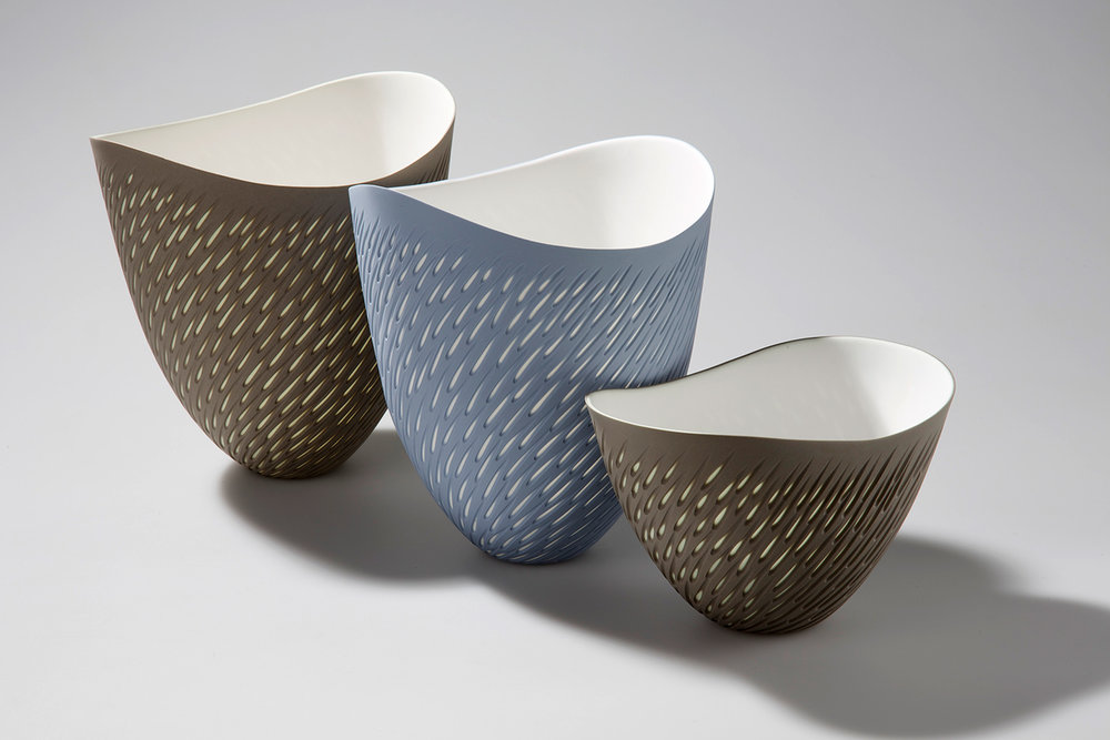 4. Layered and incised Shoal vases and bowl 16 cm _8 cm h.jpg