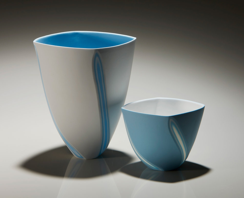 Azure Blue Twist - Tall 16 cm h, small 9 cmh