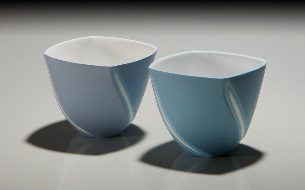 Soft Lavender and Azure Blue bowls - 9 cm h
