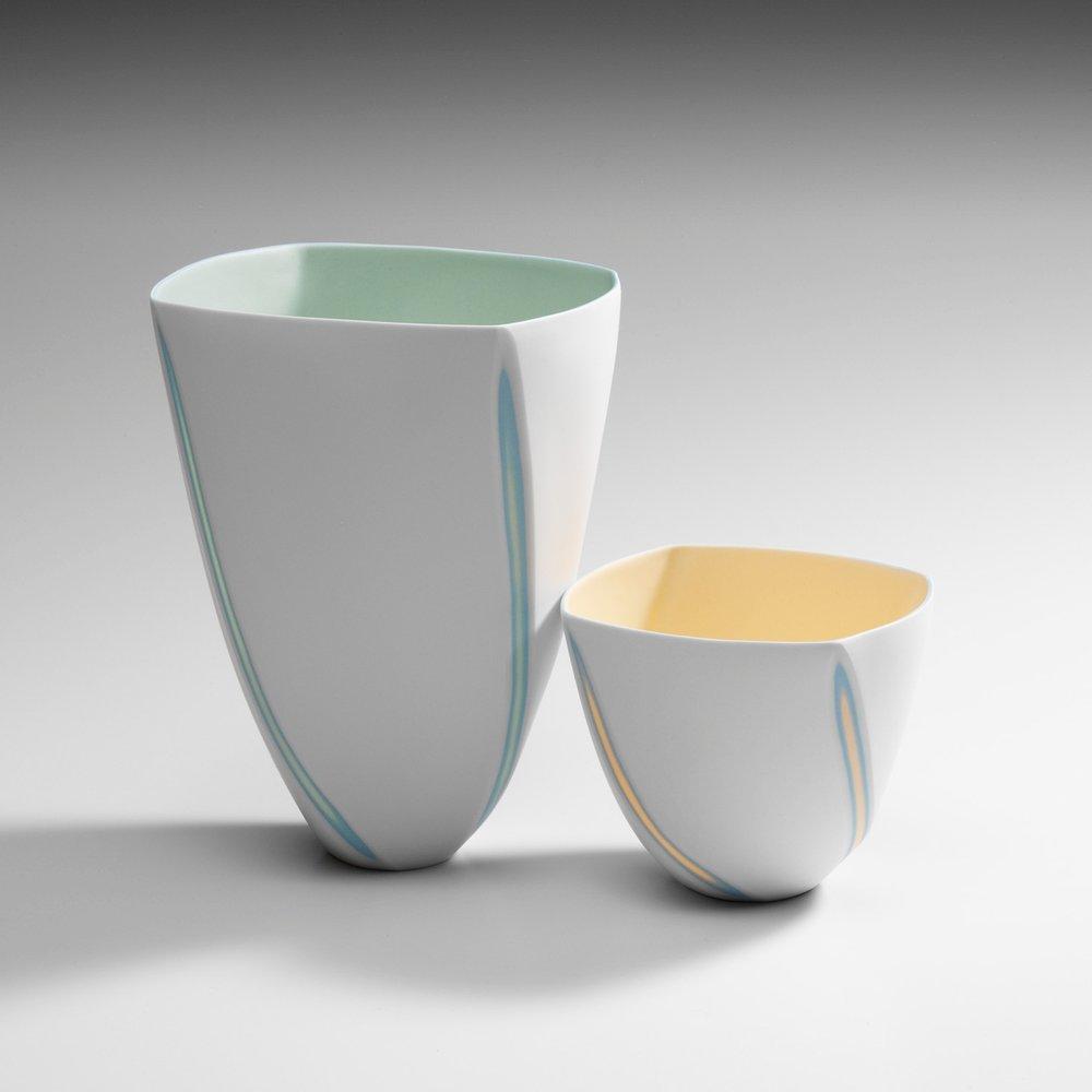 Tall Lime Green vase - 18 cm h / Small Mandarin Yellow bowl - 9 cm h