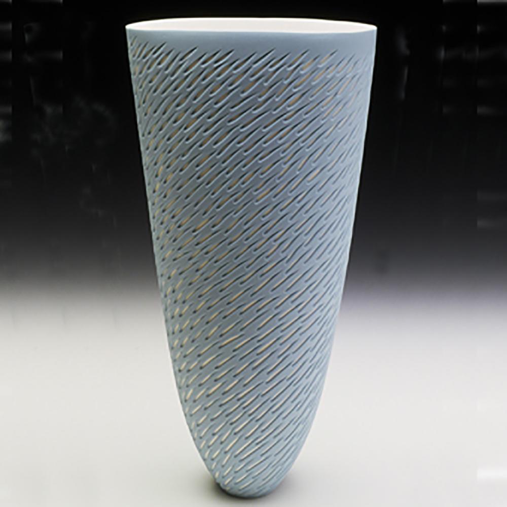 Azure Blue, Round Rim - tall 30 cm h