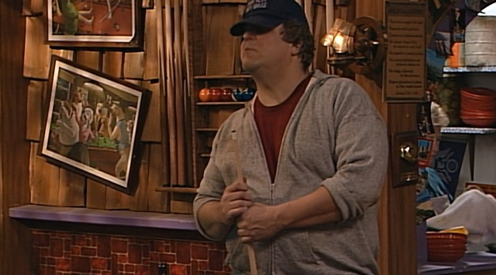 Looks like Dan travels with his own art. That's the prints from the Conners' entryway.
