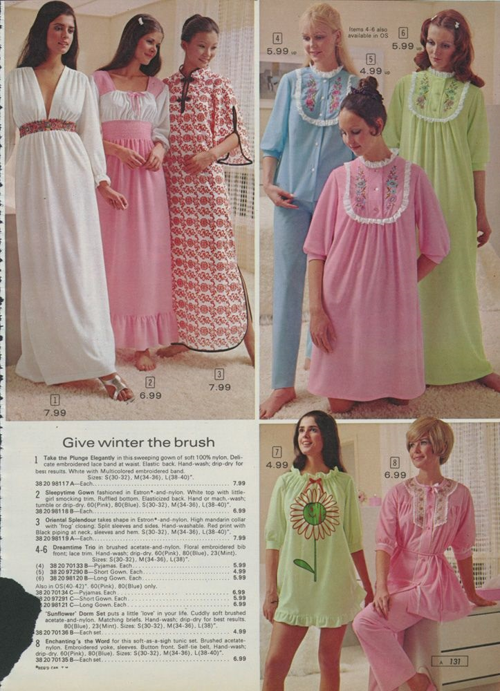 A page from the Sears catalog in the 70s reminded us that what is once youth fashion, later becomes grandma wear.