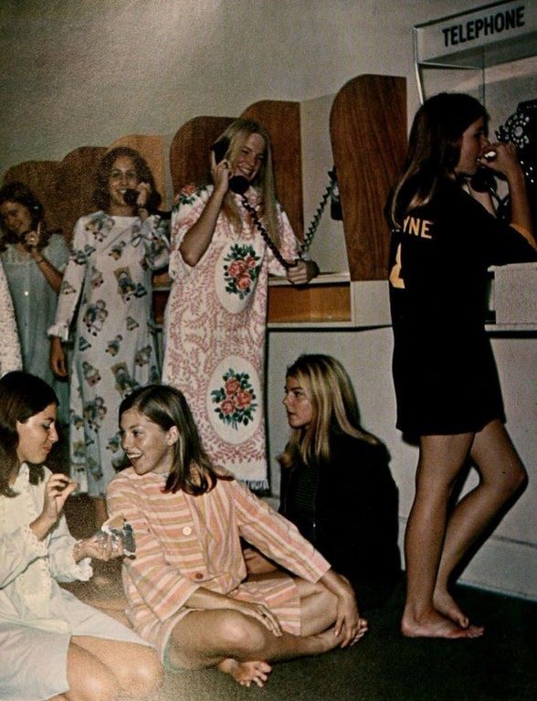 Here's some college women in a dorm in the 70s wearing what are now mostly grandma PJs.