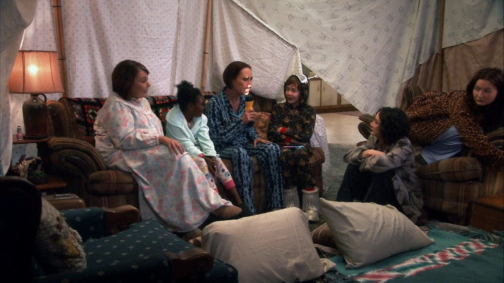 We liked this little tent and the scene much better than the heavy-handed politics. We also enjoyed Roseanne's granny nightgown.